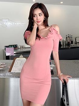 Simple Shoulder Cut Short Sleeve Dress