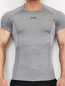 Crew Neck Short Sleeve Skinny Sport T Shirt