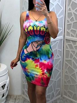 Casual Tie Dye Print Sleeveless Bodycon Dress