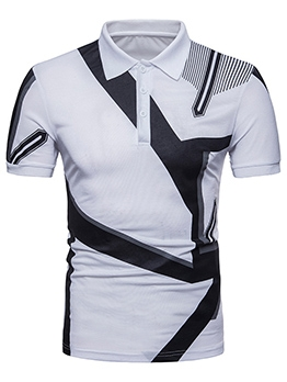 Contrast Color Geometric Print Polo T Shirts