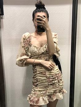 Square Neck Draped Printed Long Sleeve Dress