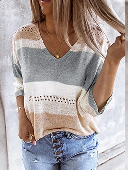 Stripe Contrast Color Knitted Top For Women