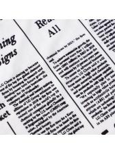 Square Collar Newspaper Print Bodycon Dress