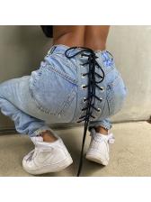 Light Blue Back Lace-Up Fashion Skinny Jeans