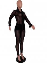 Black See Through Mesh Sexy 2 Piece Pants Set