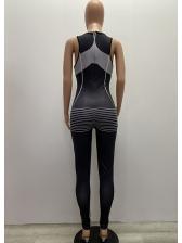 U Neck Letter Printed Sleeveless Skinny Jumpsuit