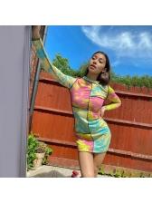 Color Block Tie Dye Long Sleeve Short Dress
