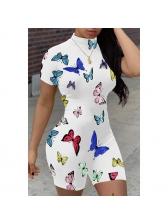 Mock Neck Butterfly Pattern Short Sleeve Bodycon Romper