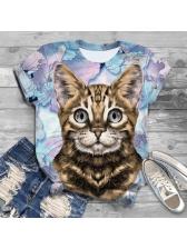 Fashion Cat Print Crew Neck Tee For Women