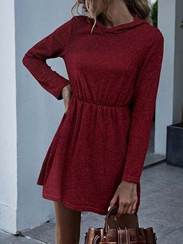 Hooded Collar Smart Waist Solid Long Sleeve Dress