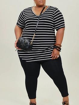Casual Wear Striped Plus Size 2 Piece Pants Set