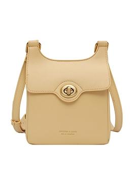 Twist Lock Versatile Style Solid Color Crossbody Bags