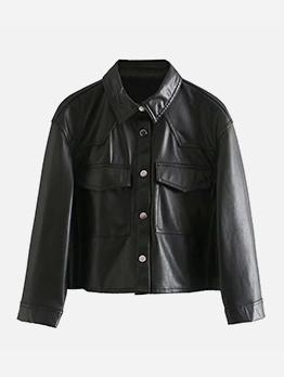 Black Tooling Wind Punk Casual Women Jacket Coat