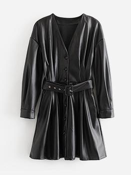 Fasten The Girdle Pu Long Sleeve Dress