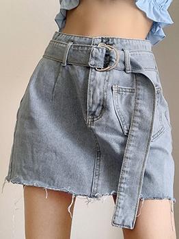 Easy Matching Plain Blue Fitted Denim Skirt