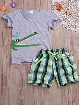 Plaid Print Short Sleeve Casual Boys Set