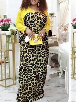 African Wind Leopard Printed Women Maxi Dress