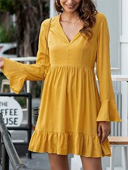 Flare Sleeve V Neck Yellow Ladies Dress