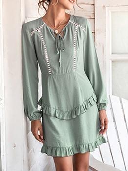 Stringy Selvedge Detail Long Sleeve Short Dress