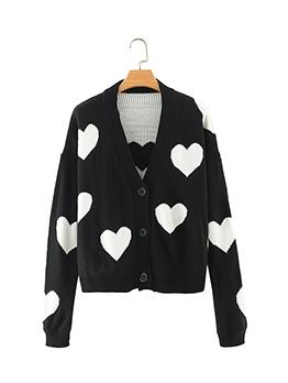 Heart Print Black V Neck Loose Knitting Cardigan