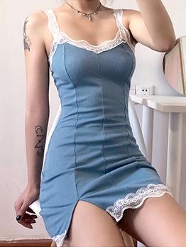 Lace Patch Sleeveless Bodycon Mini Dress