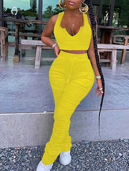Sleeveless Crop Top Stacked Pants Two Piece Sets