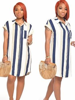 Casual Striped Short Sleeve Shirt Dress