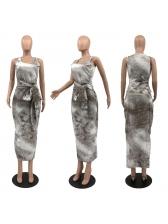 Tie Wrap Plus Size Tie Dye Maxi Dress For Summer