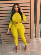 Plus Size Pure Color Slim Fit 2 Piece Pants Set