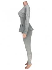 Thin Waist Pure Color O Neck 2 Piece Pants Set
