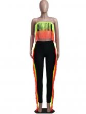 Gradient Color Tassel Strapless Two Piece Pants Set