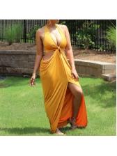 Halter Neck Backless Slit Summer Maxi Dresses