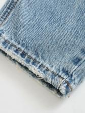 High Waist Straight Hollow Out Ninth Denim Jeans