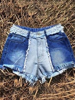 High Waist Raged Hem Denim Shorts