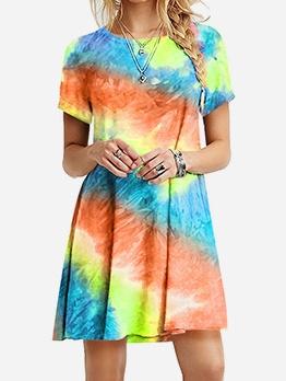 Rainbow Tie Dye Short Sleeve Casual Dresses