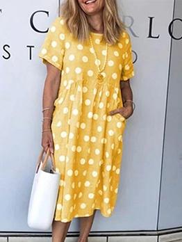 Polka Dot Short Sleeve Casual Dresses