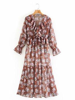 Ruffle Detail Floral Long Sleeve Maxi Dress