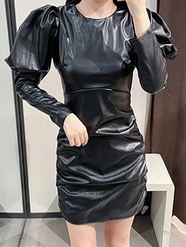 Fashion Puff Sleeve Bodycon Pu Dress For Women