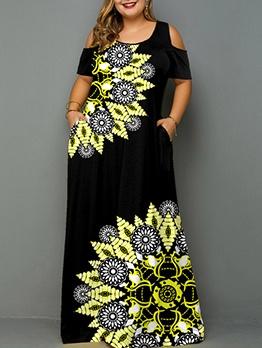 Printed Cold Shoulder Pocket Plus Size Maxi Dresses