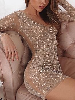 Rhinestone v Neck Long Sleeve Dress
