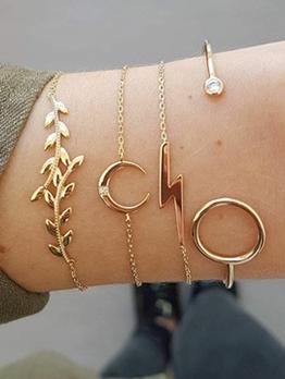 Fashion Leaf Moon Lightning Women Bracelet Set