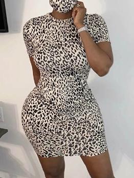 Leopard Print Short Sleeve Bodycon Dress