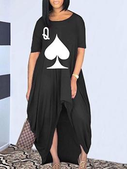 Asymmetrical Hem Heart Printed Loose Maxi Dress