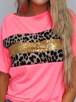 Leopard Printed Sequins Short Sleeve Tee