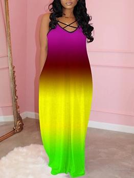 V Neck Gradient Color Sleeveless Maxi Dress
