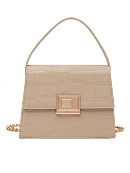 Stone Grain Solid Color Shoulder Bag With Handle