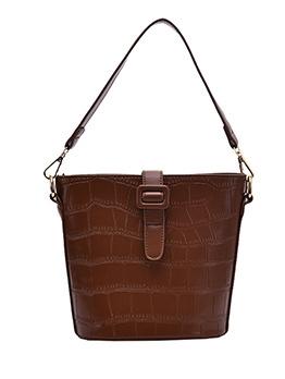Twist Woven Strap Solid Color Bucket Shoulder Bags