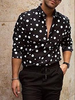 Polka Dot Long Sleeve Button Up Shirts