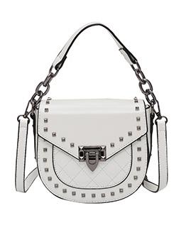 Rivets Thick Chain Handle Solid Color Shoulder Bag