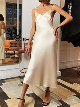 Sexy Backless Silk-Like Night Dress For Women